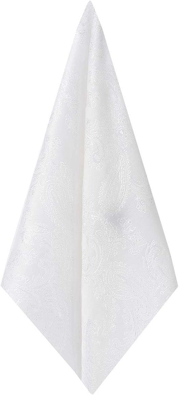 Dobell Mens White Paisley Handkerchief