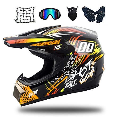MRDEAR Motorradhelm, Motorrad Crosshelm Kinder (Schwarz und Orange) Motocross Helm Set mit Brille (5 Stück) Fullface MTB Enduro Downhill Helm für Pocket Bike ATV Sicherheit Schutz,XL