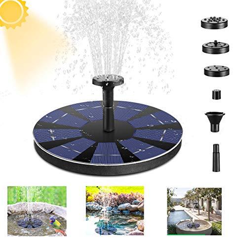 Powcan Solar Springbrunnen Solar Teichpumpe Garten Wasserpumpe Solarpumpe mit 3W Monokristalline Solar Panel, Schwimmender Dekoration für Garten, Kleiner teich, Vogelbad, Fisch-Behälter, Pool,6 Düsen