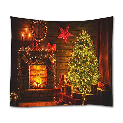 ELELIFE Christmas Tapestry Xmas Tree Fireplace Night Wall Hanging Tapestry for Photography Holiday Decor for Living Room, Bedroom, Dining Room, Dorm, Party