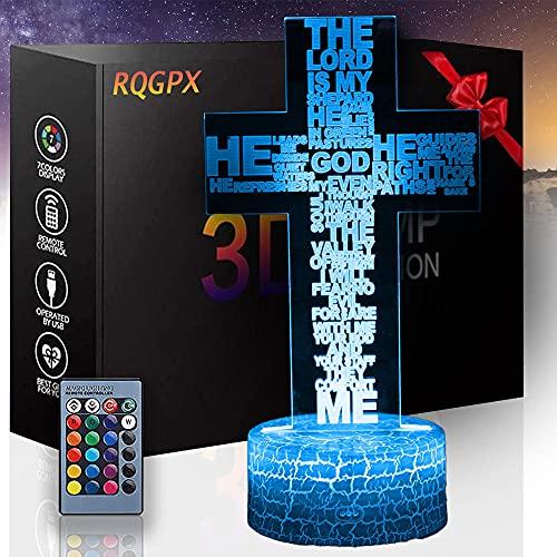 Lámpara de escritorio 3D ilusión Cruz B Luz de noche con control remoto y toque inteligente, regalos para niños niñas de 2 3 4 5 6 7 8 años de edad regalos