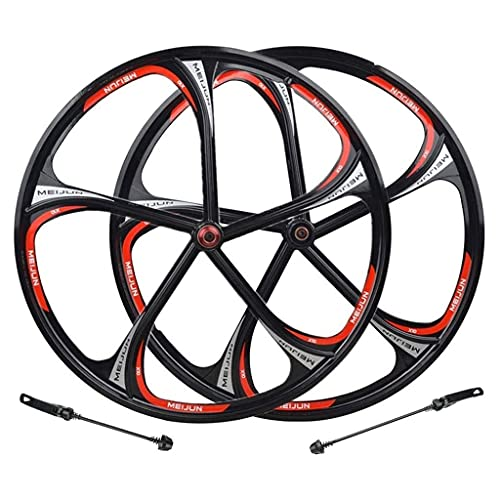 CWYP-MS Bike Wheelset,Mountain Bike Wheels Set,26 Inch Magnesium Alloy Rim MTB Bicycle Front Rear Wheel Quick Release 8-10 Speed Disc Brake Black