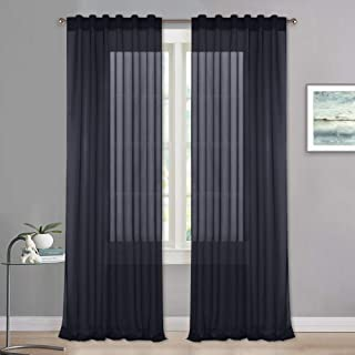 RYB HOME Sheer Curtains 63 Length - Privacy Semi Sheer Voile Window Curtains for Bedroom Living Room Baby Playroom Decor, 1 Pair, 54 x 63 per Panel, Black