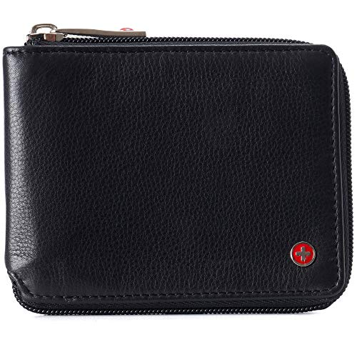 Alpine Swiss Logan Zipper Bifold Wallet For Men or Women RFID Safe York Collection Soft Nappa Black