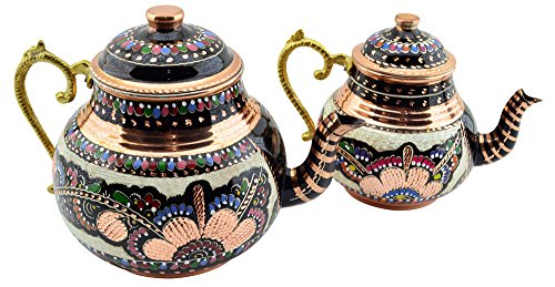 CopperBull hecha a mano pintada a mano doble de cobre tetera con mango de latón, 3Quart