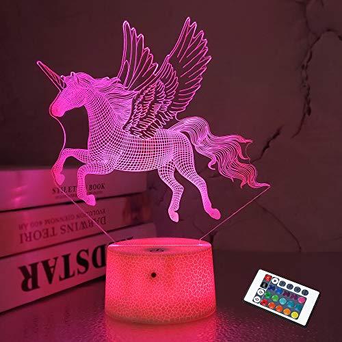 FULLOSUN 3D Unicorn Night Light for Kids LED Night Light Bedside Lamp 16 Color Changing Xmas Halloween Birthday Gift for Child Baby Boy Girls Room