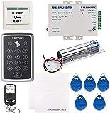 UHPPOTE 125KHz RFID ID Teclado Completo Kit Una Sola Puerta De Control Acceso Etiqueta Eléctrico Pestillo Cerradura Timbre Remoto Exit Sailida Botón
