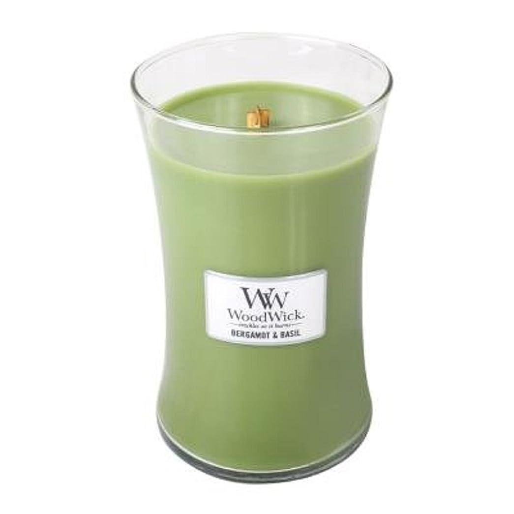 ますます効率的にオセアニアベルガモットBasil?–?Woodwick 21.5?Oz Large Jar Candle Burns 130時間