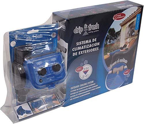 Drip&Fresh C5121 C5121-Kit Completo de nebulización para terrazas y Patios. Incluye Programador analógico por Segundos y 8 nebulizadores, Azul