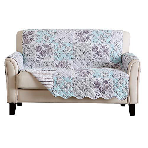 Reversible Floral Patchwork Furniture Protector. Scalloped Edge Stain Resistant Printed Furniture Protector. Maribel Collection. (Loveseat, Gray/Aqua)