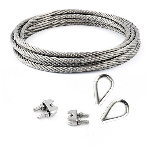 2 abrazaderas 7x19 2 dedales CONJUNTO 50m cable 3mm acero inoxidable cordaje hebra
