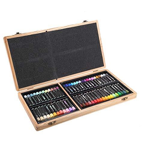 Kunstschilderij Potlood pastel wax set 60 kleuren zware olie tekening stick Kit verschillende olie pastel set met houten kist voor professionele studenten beginners kunst