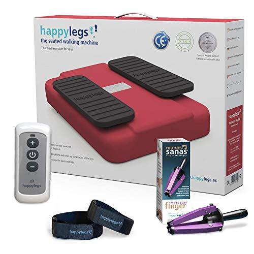 Oferta Pack Happylegs 2021 + Manos Sanas + Correas. Estimula tu circulación de piernas y Manos. La Máquina de Andar Sentado Que Ayuda a Mejorar la Circulación. ÚNICA Fabricada en España (Rojo)