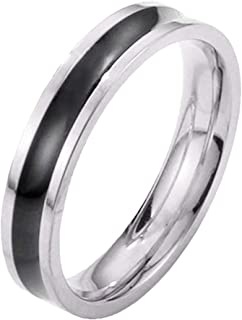 T&Y Knuckle Band Rings for Women 4mm Silver/Rose Gold Color Black Gum His and Her Wedding Ring, Size 5/6/7/8/9/10