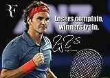 Roger Federer Tennisspieler Bunt Motivationsposter mit