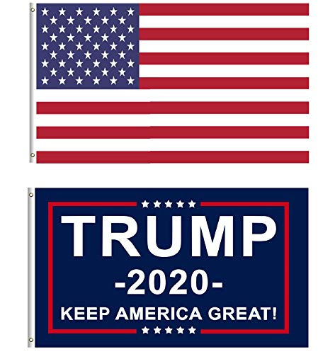 Trump Flags Donald Trump for President 2020 Keep America Great Flag 3x5 Feet with Grommets (Trump Flag+US Flag)