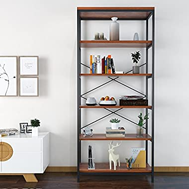 Homevol Bookcase Book Shelves 5-Shelf Bookshelf Industrial Style Metal and Wood Free Vintage Standing Storage Shelf Units