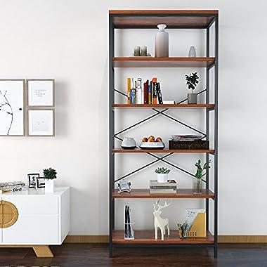 Modrine Bookcase Book Shelves,Vintage 5-Shelf Industrial Bookshelf,Vogue Carpenter Style Bookshelf Organizer,Wood and Metal Bookcase Storage Shelves (Bookshelf)
