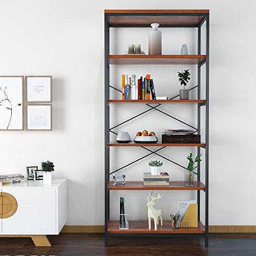 Modrine 5 Shelf Bookcase, Tall Bookshelf Industrial Style Bookshelves Vintage Standing Storage Shelf Units