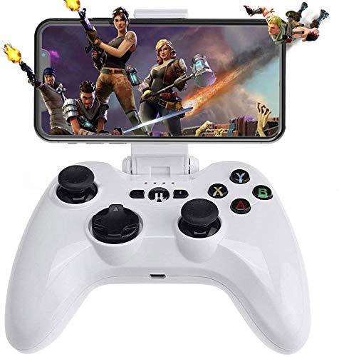 ZOUSHUAIDEDIAN Regulador del Juego de Bluetooth for el teléfono Android Tablet, Smart TV, Soporte for teléfono Caja de la TV Gamepad + Joystick Gamepad Controller + PUBG Trigger, Recuerdos (Blanco)