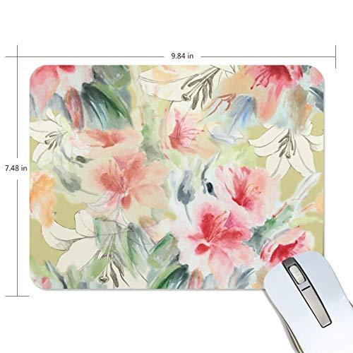 Alfombrilla de ratón rectangular sin costuras, diseño de lirios chinos y rosas, de goma antideslizante, para juegos de 7 x 24 cm