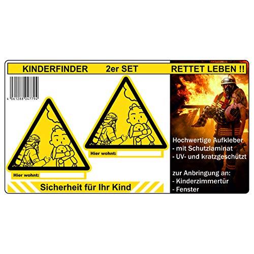 Kinderfinder set van 2 stickers brandbescherming leidingssysteem voor brandweer