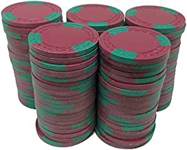 100 ASM CASINO QUALITY CLAY POKER CHIPS RED WITH GREEN INSERTS AND A ROMAN BORDER