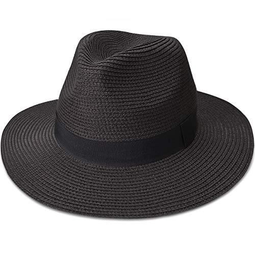 Maylisacc Panamahut, einrollbare Stroh-Fedora, für Sommer und Strand, Sonnenhüte für Damen und Herren Gr. L, Schwarz-FK
