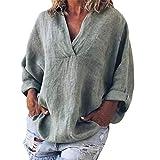 Chemisier Femmes FNKDOR Grande Taille Couleur Unie Coton et Lin Col en v à Manches Longues Pullover(Gris, FR-50 / CN-5XL)