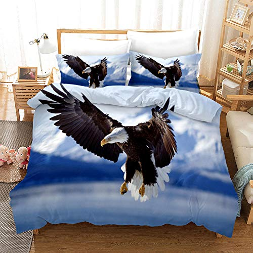 SKYZAHX Bedding Set Duvet Cover Blue Animal Eagle Microfiber Quilt Cover 79x79inch and 2 Pillow Cases, with Zipper closure Soft and breathable, Double
