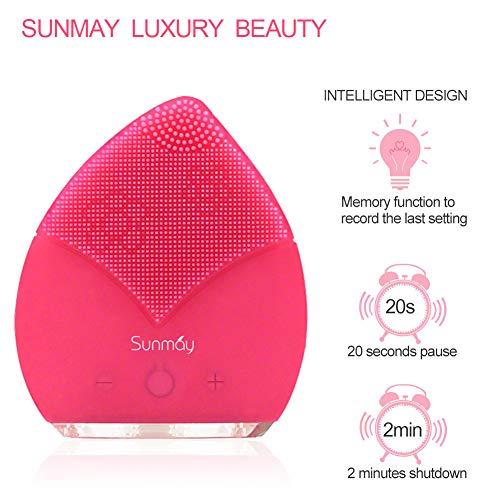 【Sunmay Leaf】SUNMAY Sonic Brosse Nettoyante pour le visage et Massage, FDA Grade Silicone, Rechargeable Imperméable Anti-Aging Visage Exfoliator Body Makeup Tool Version mise à jour