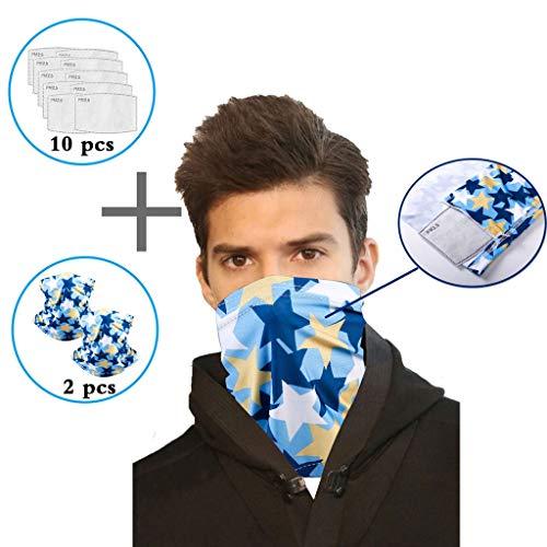 Lomelomme 2 Stück Halstuch Mundschutz Schlauchtuch Multifunktionstuch Bandana Face Shields mit 10 Stück Baumwolle Filter Damen und Herren (A)