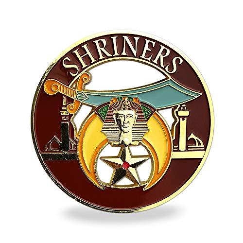 Masonic Shriners Car Emblem Red & Gold Metal Auto Decal