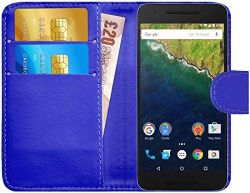 G-Shield Hülle für Google Nexus 6P Klapphülle mit Kartenfach - Blau