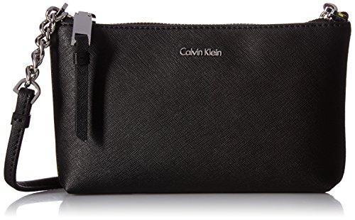 Calvin Klein Hayden Key Item Signature Top Zip Chain Crossbody, Black/Silver