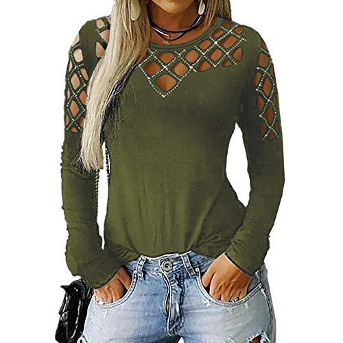 Camiseta de manga larga de taladro caliente hueco para mujer