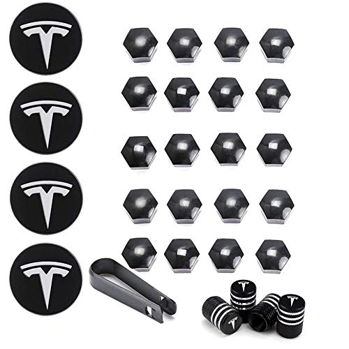EGFheal Radnabenkappen für Tesla, Aero Wheel Cap Kit, 4 Aluminiumlegierung Nabenkappen & 20 Radmuttern Abdeckung & 4 Ventilkappen