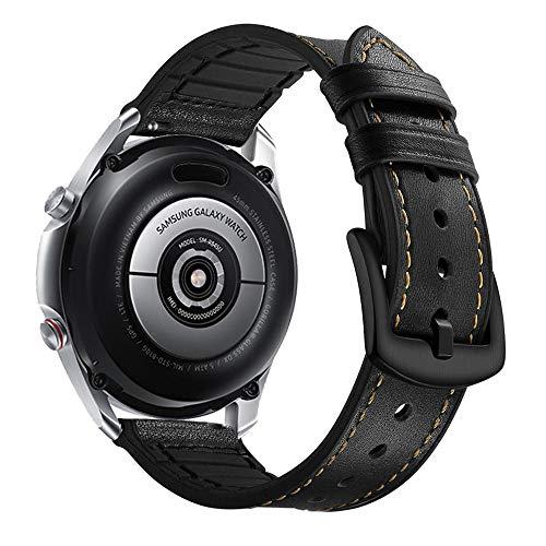 YOOSIDE für Samsung Galaxy Watch 3 45mm Leder Armband, 22mm Echtleder+Silikon Ersatzarmband Uhrenarmband für Samsung Galaxy Watch 46mm/Gear S3, Schwarz
