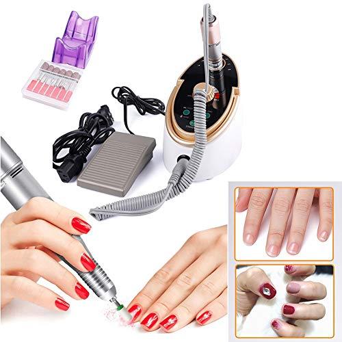 Professionele elektrische nagelvijl voor nagels, 65 W, lcd-display, sterke 35000 omw/min, boormachine voor pedicure met 6 boren.