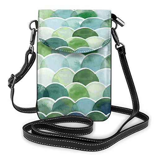 XCNGG Watercolor Fish Scales Cell Phone Purse Crossbody Bag Pouch Shoulder Bags Wallet For Women Girls Travel Wedding