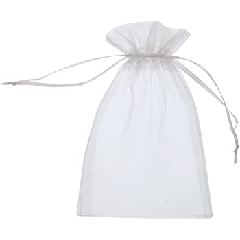 SumDirect 50Pcs 4x6 inches Sheer Organza Bags Jewelry Drawstring Pouches Wedding Party Christmas Favor Gift Bags  (White)