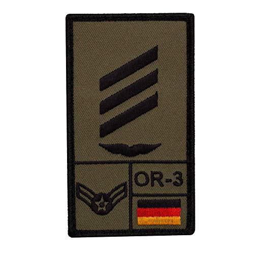 Café Viereck ® Hauptgefreiter Luftwaffe Bundeswehr Rank Patch mit Dienstgrad - Gestickt mit Klett – 9,8 cm x 5,6 cm