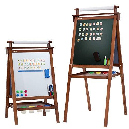 Dripex Kinder Kunst Staffelei mit Papierrolle doppelseitige Tafel und Magnetic Board für Kinder Malen Upgrade Whiteboard Kreidetafel(Walnussfarbe)