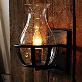 Ladiqi Vintage Country Style Candle Design Wall Sconce Lighting Wall Lamp Light Fixture E12 Bulb Base with Unique Seedy Glass Shade Indoor Outdoor