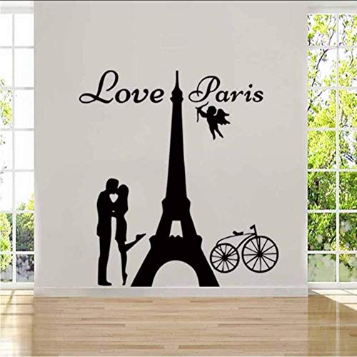 Angels liefde Parijs muur Sticker Vinyl Decal liefhebber kussen en fiets verwijderbare huis niveau diamant artistieke decoraties 42 * 45Cm