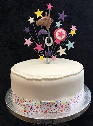 Paard en rozet Verjaardagstaart Topper Roze, Paars etc met 1 x Meter 25mm Sterlint met Bijgevoegde strik