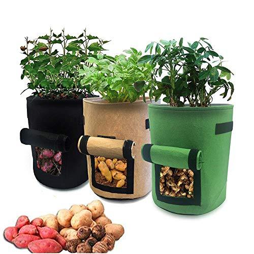 HUOHUOHUO Paquete Bolsas de Cultivo de Papa,7 Gallones,Bolsas de Ccultivo de Hortalizas,Macetas de Tela con Asas,Bolsas de Cultivo de Papa,Bolsas de Cultivo de Jardín,Plant Grow Bags