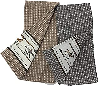 Horse Kitchen Dish Towels, Coordinating Set of 2, Waffle Cotton, Beige & Grey, Horse Themed Design (Hunt Theme)