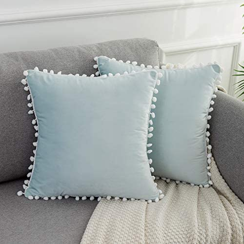 WLNUI Set of 2 Soft Velvet Light Blue Pillow Covers 18x18 Inch Square Decorative Cute Pom Poms product image