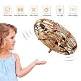 FORMIZON UFO Mini Drohne, Mini Flugspielzeug Drohne Handgesteuerter, Kinder Spielzeug Handsensor Handbetriebene Einfache Indoor Outdoor Fliegender Ball (Gold)